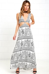 See You There Black and White Print Maxi Dress