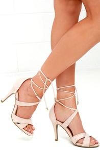 image Sweet Things Nude Suede Lace-Up Heels