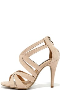 Kiss Me Twice Nude Suede Caged Heels