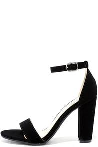 image Something Sweet Black Nubuck Ankle Strap Heels