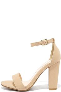 image Something Sweet Nude Nubuck Ankle Strap Heels