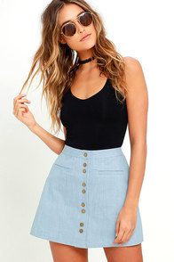 Marsha Blue Chambray A-Line Skirt