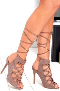 image Chic in the City Taupe Suede Lace-Up Heels