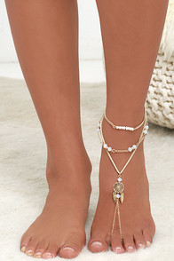 image Stride By My Side Gold and Beige Foot Bracelet