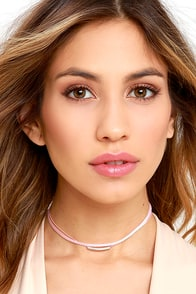image Wicked Cute Silver and Blush Pink Choker Necklace