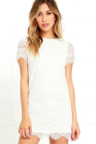 Take Me to Brunch Ivory Lace Shift Dress