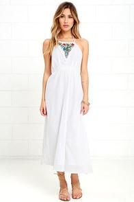 Raga Make It Reign Ivory Embroidered Halter Dress