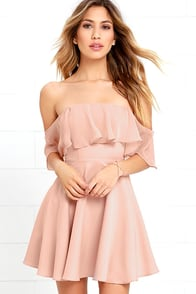 Flutter On By Nude Off-the-Shoulder Skater Dress at Lulus.com!