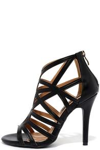 So Fine Black Caged Heels