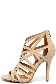 So Fine Nude Caged Heels