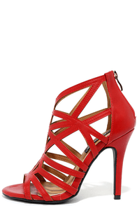 So Fine Red Caged Heels
