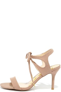 Reception Taupe Suede Lace-Up Heels