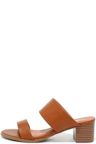 It's Casual Tan Heeled Slide Sandals