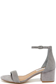 Steve Madden Irenee Grey Suede Leather Ankle Strap Heels