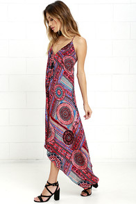 Sound Of Silence Fuchsia Print Midi Dress at Lulus.com!