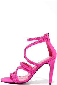 image Stillness is the Move Fuchsia Suede Caged Heels