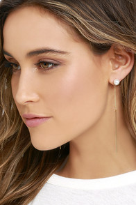 Fortune Smiles Gold and Pearl Peekaboo Earrings
