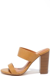 Fashion Fixation Camel Mule Heels