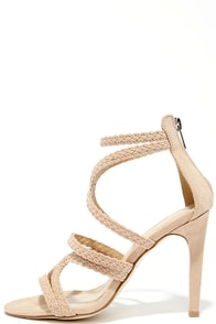 image Stillness is the Move Nude Suede Caged Heels