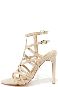 image I Decided Nude Suede Caged Heels