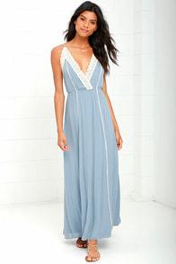 image Stars Aligned Periwinkle Blue Lace Maxi Dress