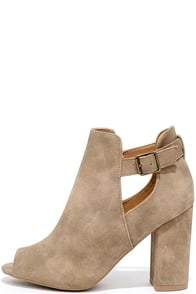 Image Temperature Turn-Up Stone Distressed Peep-Toe Booties