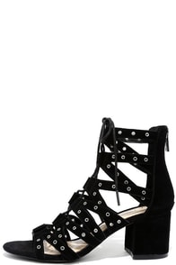 Jessica Simpson Haize Black Kid Suede Lace-Up Heels