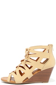 Chic Smarts Natural Nubuck Lace-Up Wedge Sandals