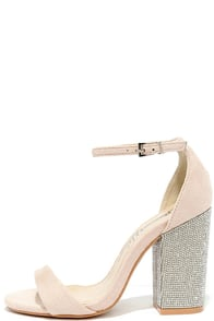 You Can Dance Nude Suede Rhinestone Heels