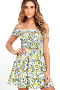 Anything Fleur You Ivory Floral Print Off-the-Shoulder Dress at Lulus.com!