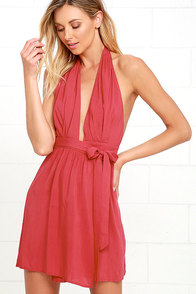 image Positively Perfect Washed Red Wrap Dress