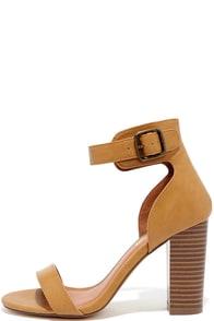 image Believe It Camel Ankle Strap Heels