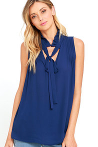 image My Dear Navy Blue Sleeveless Top