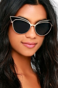 Future of Fashion Gold and Black Cat-Eye Sunglasses