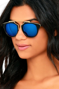 image Retro Me, Oh My Black and Blue Mirrored Sunglasses