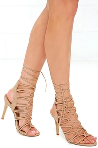 Good Looks Natural Suede Lace-Up Heels