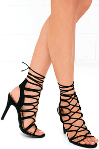 Good Looks Black Suede Lace-Up Heels
