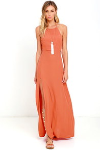 Mink Pink Little Lolita Rust Orange Maxi Dress