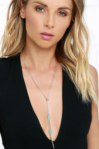 Only With You Turquoise and Silver Lariat Necklace