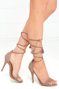Higher Ground Taupe Suede Lace-Up Heels
