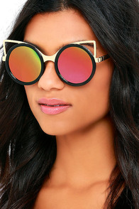 image House Cat Black and Pink Mirrored Sunglasses