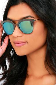image Time Machine Gunmetal and Green Mirrored Sunglasses