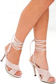Flutter Kicks Nude Velvet Lace-Up Heels
