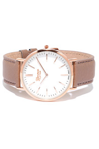 image Escape Artist Rose Gold and Taupe Leather Watch