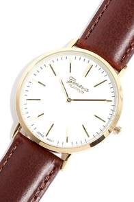 Escape Artist Brown and Gold Leather Watch