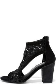Sbicca Rocio Black Lace Peep-Toe Heels