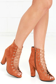 image Always a Pleasure Chestnut Suede Lace-Up Booties