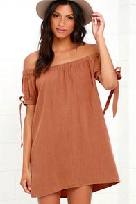 Al Fresco Evenings Brown Off-the-Shoulder Dress