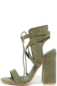 Share a Smile Olive Suede Lace-Up Heels