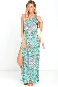 Mosaic Masterpiece Mint Blue Print Maxi Dress
